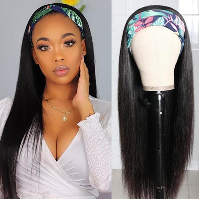 Klaiyi Straight Human Hair Wigs With Headbands Attached Non Lace Front Wigs Black Color 150% Density