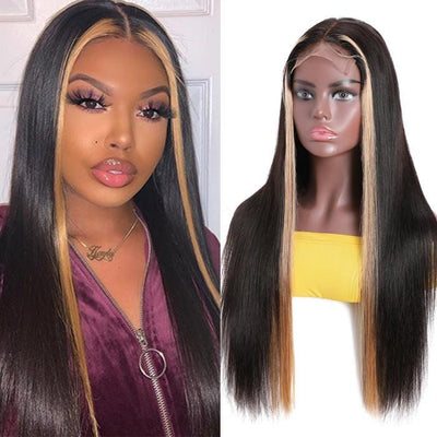 Klaiyi 100% High Quality Virgin Human Hair Straight Hair Wigs Lace Part Wig TL27 Color Hair Wigs