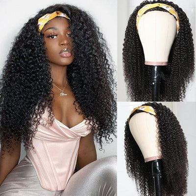 Klaiyi Kinky Curly Human Hair 3/4 Half Wigs For Women Glueless Wigs Natural Color Gift Headband
