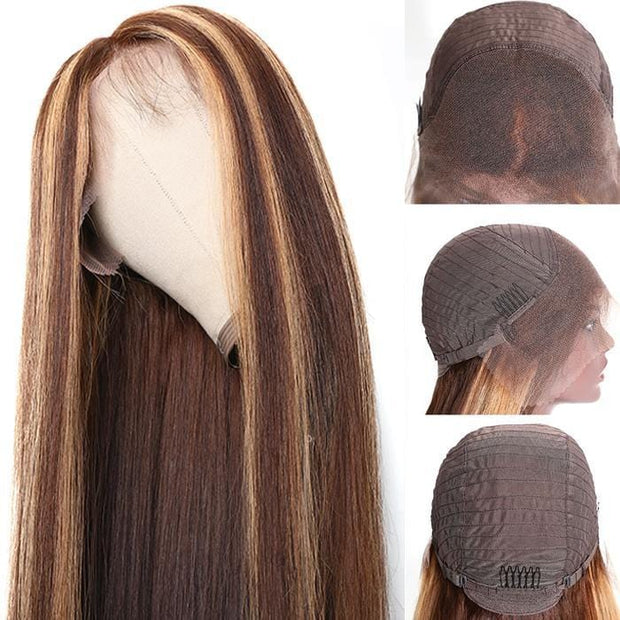 Klaiyi 9A Ombre Color Straight Hair Lace Front Wigs With Baby Hair 150% Density TL412 Human Hair Wigs