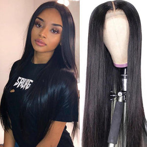 Klaiyi Lace Closure Wig 4*4 Closure Wig Straight 150% Density Human Hair Wigs