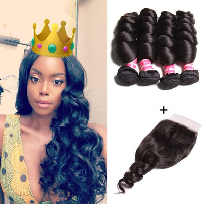 Brazilian Loose Wave Hair 4 Bundles with 4*4 Lace Closure Deals-Klaiyi Hair
