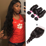 Klaiyi Malaysian Loose Wave 3 Bundles with 4*4 Lace Closure Deals