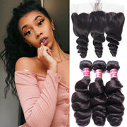 Brazilian Loose Wave  3 Bundles with 13*4 Ear to Ear Lace Frontal Closure-Klaiyi Hair