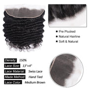 Klaiyi Hair Loose Deep Wave Frontal Closure 13x4 Lace Frontal Pre Plucked 150% Density