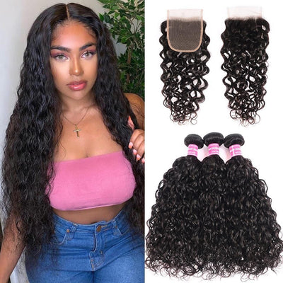 Klaiyi Hair 8A Loose Water Wave 3 Bundles with Closure Brazilian Human Hair Weave with Closure