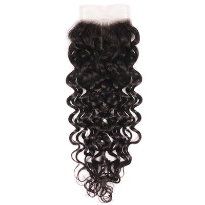 Klaiyi Hair 8A Loose Water Wave Lace Closure 4*4 Free Part Human Hair Closure