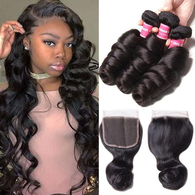 Klaiyi Brazilian Loose Wave Human Virgin Hair 3 Bundles with 4*4 Closure Natural Color