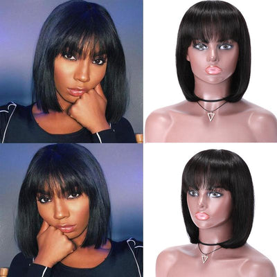 Klaiyi Human Hair Wigs With Bangs Full Machine Made Wig No Lace Front Human Hair Wigs Natural Color