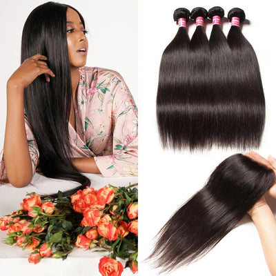 Malaysian Straight Hair 4 Bundles with Lace Closure, No Shedding and Tangle Free -Klaiyi Hair