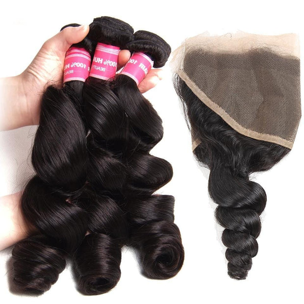 Malaysian Loose Wave  3 Bundles with 13*4 Ear to Ear Lace Frontal Closure-Klaiyi Hair