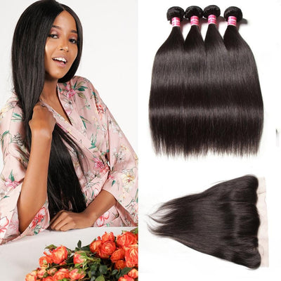 Malaysian Straight Hair 4 Bundles with Frontal Closure Deals-Klaiyi Hair