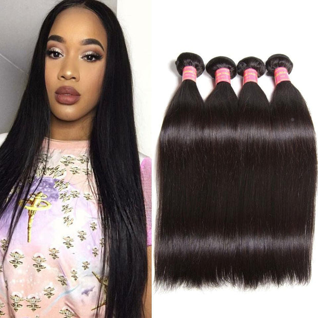 Klaiyi 4Bundles Malaysian Straight Virgin Human Hair