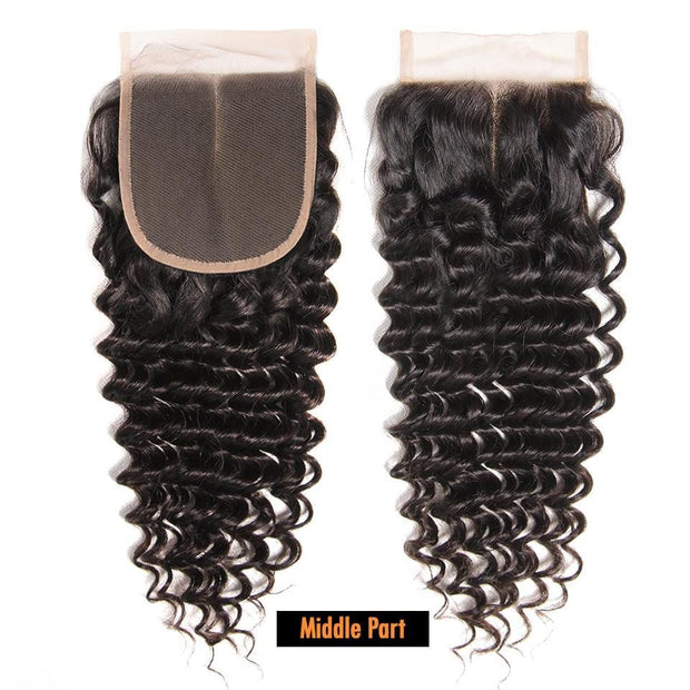 Brazilian Deep Wave 3 Bundles with 4*4 Lace Closure, 100% Virgin Human Hair Weaves on Sale-Klaiyi Hair