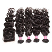 7A Grade Indian Natural Wave 4 Bundles with Free Part Lace Closure, 100% Virgin Human Hair Weave on Sale-Klaiyi Hair