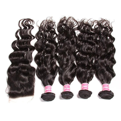 8A Grade Indian Natural Wave 4 Bundles with Free Part Lace Closure, 100% Virgin Human Hair Weave on Sale-Klaiyi Hair