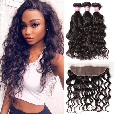 Klaiyi 8A Brazilian Natural Wave 3 Bundles with Lace Frontal Closure Human Virgin Hair Extension