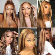 Klaiyi Honey Blonde Highlight Color Straight Hair Lace Part Wigs 150% Density TL412 Human Hair Wigs