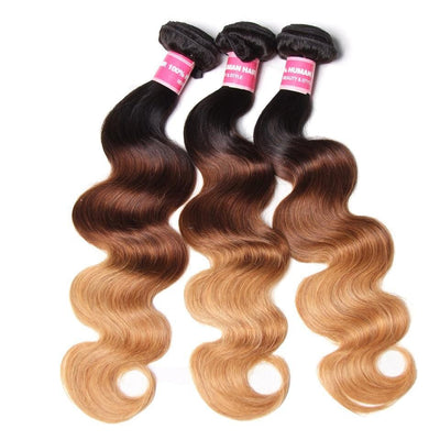 3 Tone Ombre Body Wave Human Hair 3 Bundles Weave 1b/4/27 Color