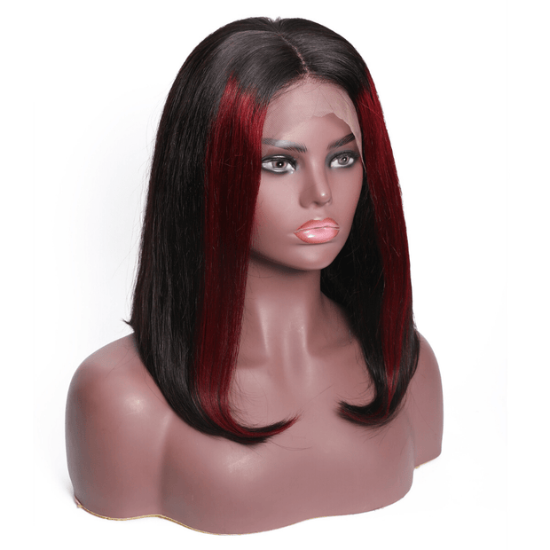 Klaiyi 9A Highlights Straight Bob Lace Front Wigs High Density Ombre Color Human Hair Wigs Short Bob Wigs