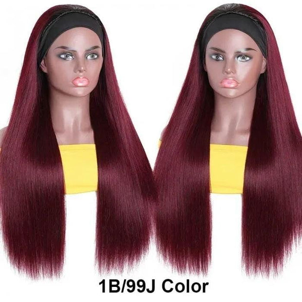 Klaiyi Hair 99J Dark Burgundy Colored Headband Wigs Straight Hair Wig Black Root Headband Wig Glueless More Hairstyles For Women