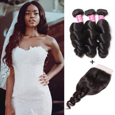 Klaiyi Peruvian Loose Wave 3 Bundles with 4*4 Lace Closure Deals