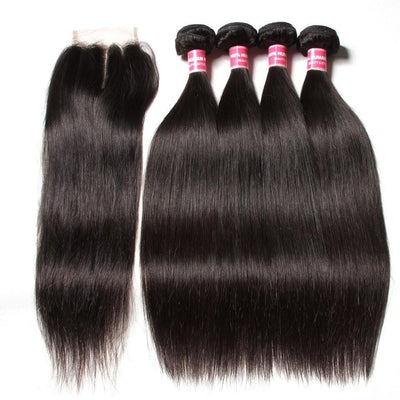 Peruvian Straight Hair 4 Bundles with Lace Closure Deals-Klaiyi Hair