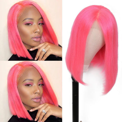 Klaiyi Hair 9A Pink Straight Bob Wig 13*4 Lace Frontal Short Bob Wig, 100% Virigin Human Hair Wig, 8-14inch Available