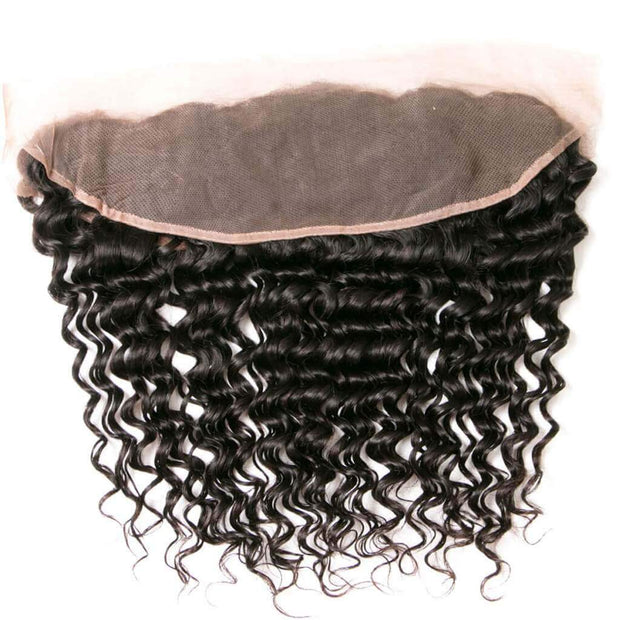 7A Indian Deep Wave 4 Bundles with Lace Frontal Closure Human Virgin Hair Extension