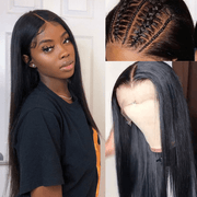 Klaiyi 9A Fake Scalp Undetectable Glueless Brazilian Straight Lace Wig, Preplucked Invisible 13*4 Lace Frontal Wig Human Hair