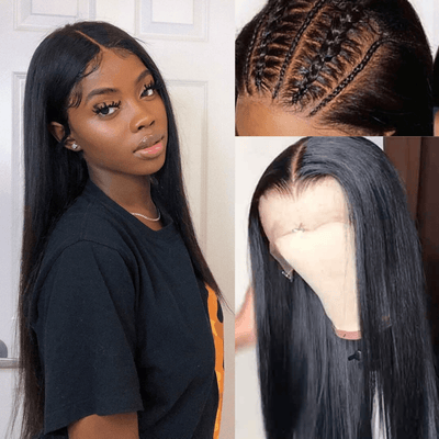 Klaiyi 9A Undetectable Glueless Fake Scalp Brazilian Straight Lace Wig, Preplucked Invisible 13*4 Lace Frontal Wig Human Hair