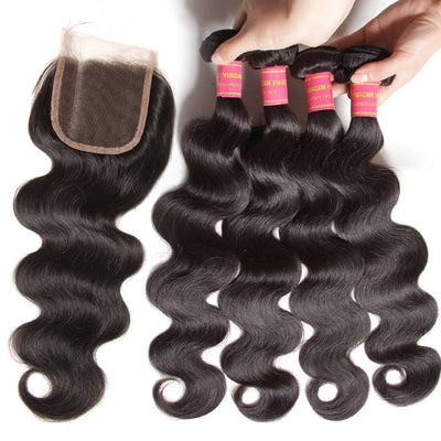 Klaiyi Brazilian Body Wave 4 Bundles With 4*4 Lace Closure Human Virgin Hair Extension