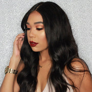 klaiyi Peruvian Body Wave Lace Closure With 3pcs Human Virgin Hair Weave