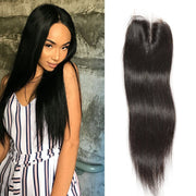 Klaiyi Peruvian Straight Virgin Hair 4x4 lace Closure, Unprocessed Human hair Natural Color