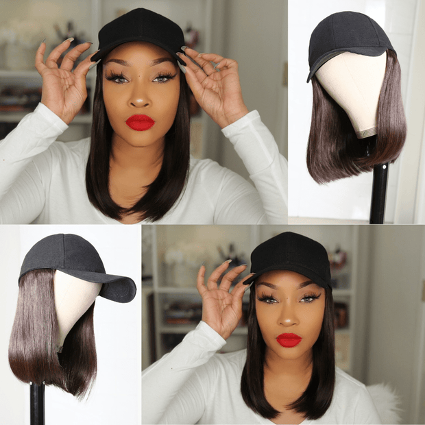 Klaiyi Straight Human Hair Cap Wigs Dark Brown Bob Wigs With Hat Short Straight Hair Hat Wig 150% Density