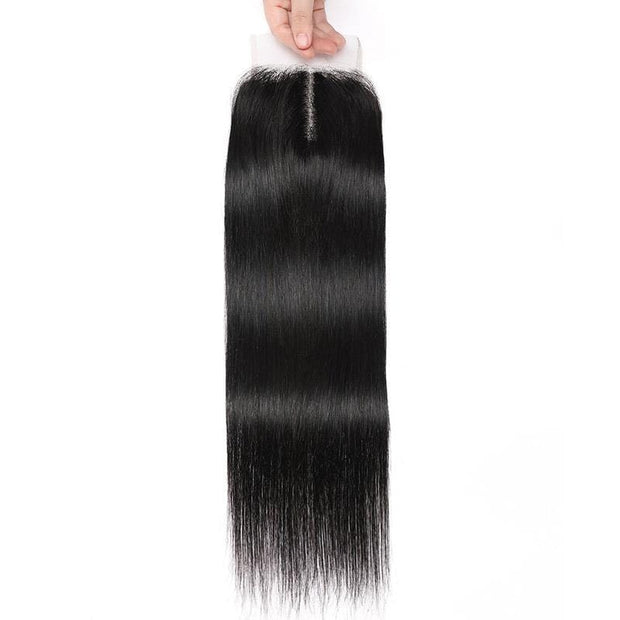 Klaiyi Straight Human Hair Closure Middle Part 4x4 T Part Lace Closure Pre Plucked Natural Hairline