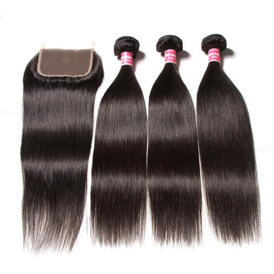 Klaiyi Peruvian Straight Hair 3 Bundles with 4*4 Lace Closure