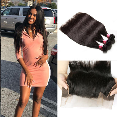 Klaiyi 3 Bundles Brazilian Straight Hair with 13*4 Ear to Ear Lace Frontal Closure