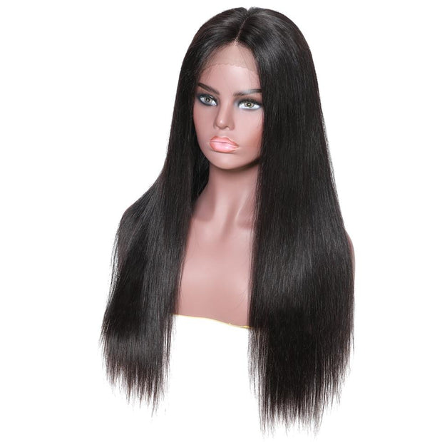 Klaiyi 9A 13*4 150% Density Natural Long Straight 100% Human Hair Wig Lace Front Wig