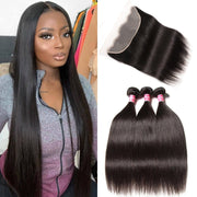 Klaiyi Hair Brazilian Straight Hair Bundles with Transparent Frontal 13*4 Swiss Lace Front