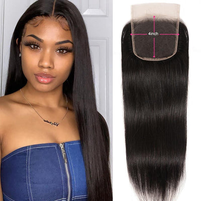 Klaiyi 9A Brazilian Straight Hair 4X4 Lace Closure