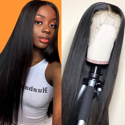 Klaiyi Hair 9A Invisible 13*4 13*6 Lace Frontal Straight Hair Human Hair Wigs 150%/180% Density Lace Front Wigs Pre Plucked