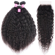 Klaiyi Hair 8A Super Wave 3 Bundles with Lace Closure Kinky Wave Human Hair For Black Women