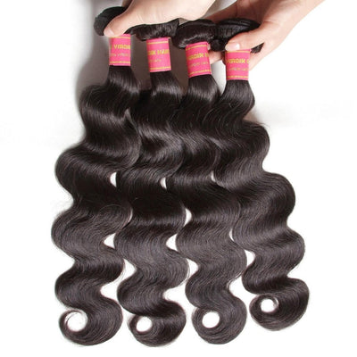 Klaiyi 7AVirgin Indian Body Wave Hair 4pcs/pack Human Extensions Natural Color