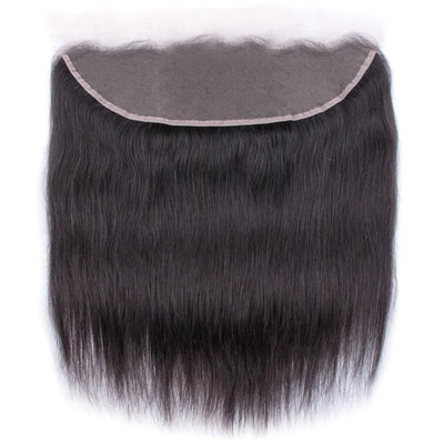 Klaiyi Hair Brazilian Straight Hair Frontal Closure 13*4 Transparent Swiss Lace Frontal Ear to Ear Closure Natural Black