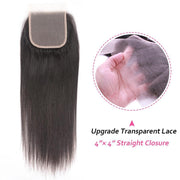 Klaiyi 4*4 Transparent Swiss Lace  Straight Lace Closure