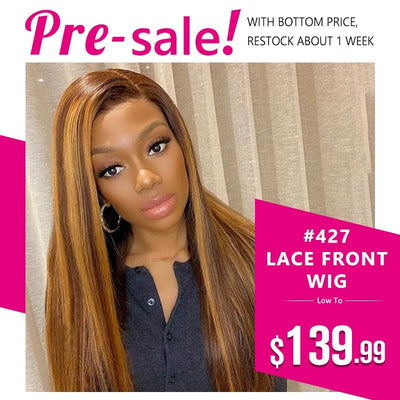Klaiyi Ombre Color #427 Straight Human Hair Wigs 13*4 Ginger Highlights Lace Front Wigs 150% Density