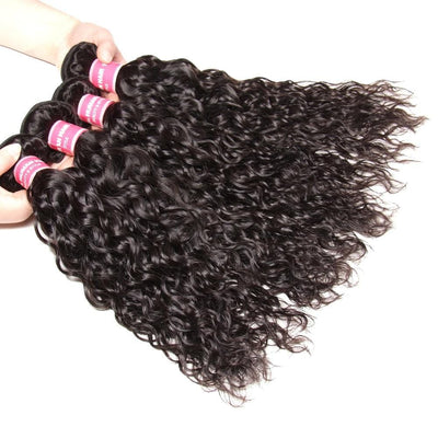 Klaiyi Hair 100% Human Virgin Hair Water Wave Weave 4 Bundles