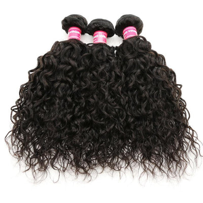 Klaiyi hair 3 Bundles Peruvian Water Wave Human Hair Weave Extensions, No Shedding and Tangle Free