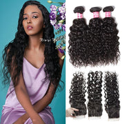Malaysian Water Wave 3 Bundles with 4*4 Lace Closure, 100% Virgin Human Hair on Sale-Klaiyi Hair